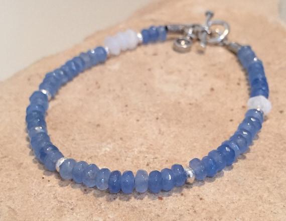 Blue bracelet, agate bracelet, moonstone bracelet, Hill Tribe silver bracelet, gemstone bracelet, boho style bracelet, everyday bracelet