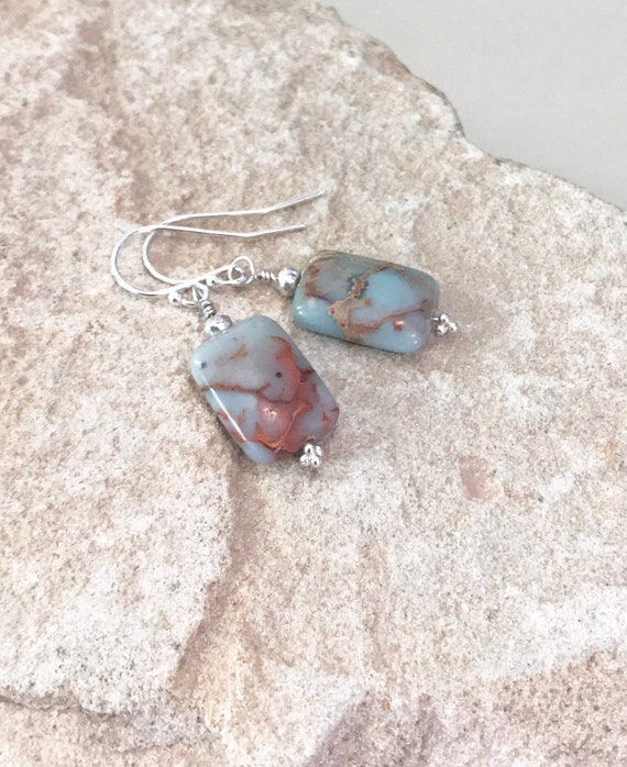 Green earrings, African opal earrings, rectangle earrings, Hill Tribe silver earrings, silver drop earrings, dangle earrings, gift for her