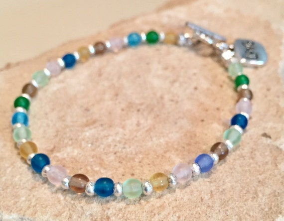 Multicolored bracelet, charm bracelet, love charm, Czech glass bead bracelet, Hill Tribe silver bracelet, sundance bracelet, gift for wife