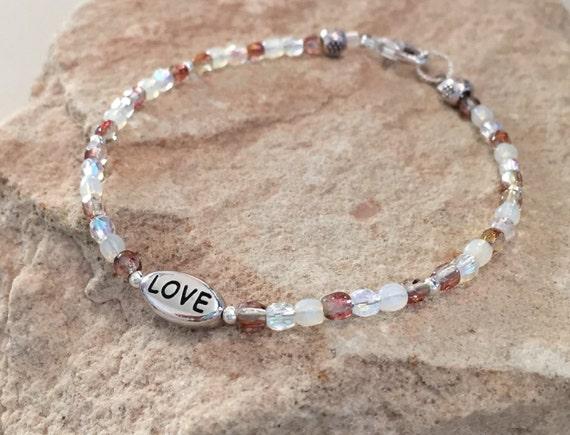 Brown bracelet, Czech glass bead bracelet, sterling silver bracelet, message bracelet, charm bracelet, gift for her, gift for wife, boho