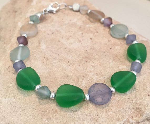 Blue and green bracelet, frosted glass bracelet, Hill Tribe silver bracelet, colorful bracelet, sundance bracelet, gift for her, boho chic