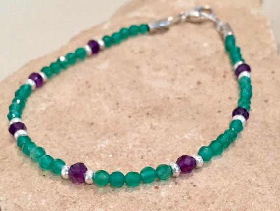 Purple and green bracelet, amethyst bracelet, onyx bracelet, Hill Tribe silver bracelet, sterling silver bracelet, gemstone bracelet