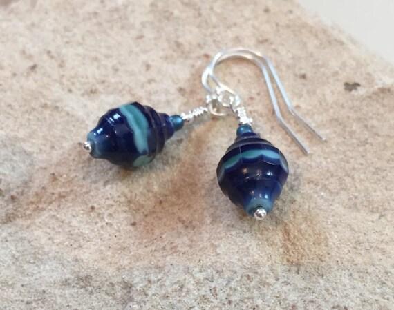 Blue drop earrings, seed bead earrings, sterling silver earrings, dangle earrings, minimalist earrings, boho earrings, gift for her