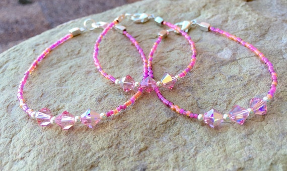 Pink mother-daughter or mother-daughter-grandmother bracelet sets, Swarovski bracelet sets, gift for mom, gift for daughter, gift for wife