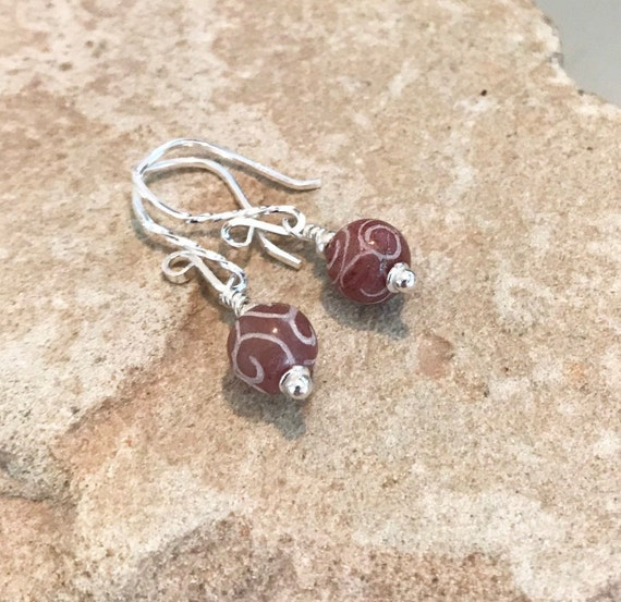 Red drop earrings, jade earrings, Hill Tribe silver earrings, sundance earrings, dangle earrings, silver earrings, gift for her, boho chic