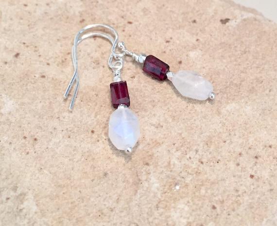 Moonstone earrings, garnet earrings, Hill Tribe silver earrings, drop earrings, dangle earrings, red earrings, January birthstone earrings