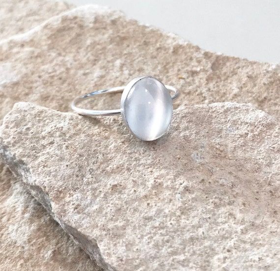 Sterling silver moonstone ring, oval stone ring, oval gemstone ring, stackable sterling silver ring, sterling silver ring, dainty ring
