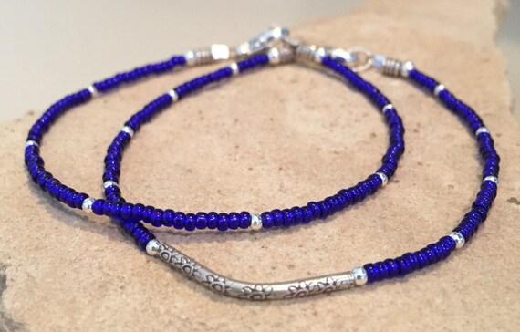 Blue seed bead bracelet, noodle bracelet, Hill Tribe silver bracelet, sundance bracelet, curved tube bead bracelet, gift for wife, boho chic