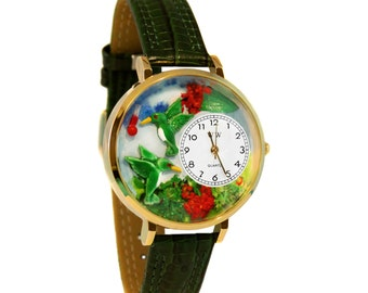 Whimsical Hummingbirds Watch Women's-Hand Painted-Green Leather-Scratch Resistant Glass-Quartz Movement-Made in USA-Battery & Gift Box