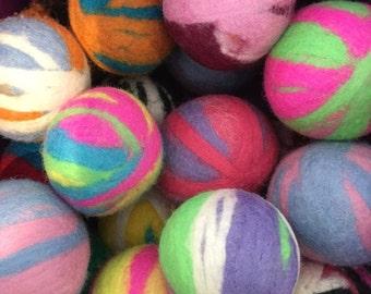 Rainbow Wool Ball Handmade Felted