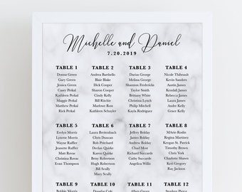 Marble Printable Wedding Seating Chart, Custom Printable Wedding Seating Assignment Chart, Digital File, Marble Wedding Seating Poster Sign