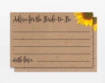 Printable Sunflower Bridal Shower Advice Cards, Printable Rustic Kraft Sunflower Bridal Shower Advice for the Bride, DIY Advice Bride Cards