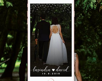 Custom Wedding Snapchat Geofilter, Silver, Gold, Rose Gold Snapchat Wedding Filter, Script Heart White Glitter Confetti Wedding Geofilter