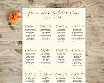 Ivory and Gold Wedding Seating Chart Printable / Faux Gold Glitter and Cream Printable Wedding Seating Chart, Custom & Personalized