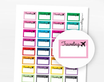 Printable Traveling Vacation Planner Stickers, Printable Vacation Erin Condren Planner Happy Planner Stickers, Flight Stickers Half Boxes