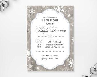 Winter Bridal Shower Invitations Etsy