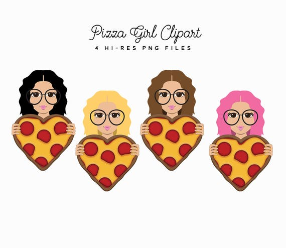 Pizza Madchen Clipart Set Valentinstag Herz Pizza Clipart Etsy
