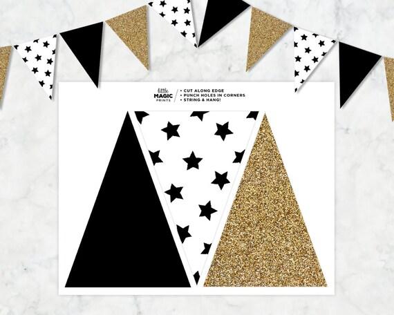 Items similar to Black White Gold Printable Pennant Flag ...