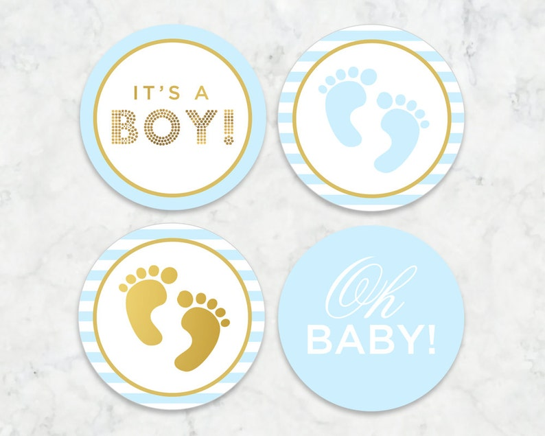 graphic about Baby Printables referred to as Its a Boy Printable Tags, Labels, Cupcake Toppers // Little one Boy, Kid Shower, Clean Little one Printable Tags // Blue and Gold Kid Printables