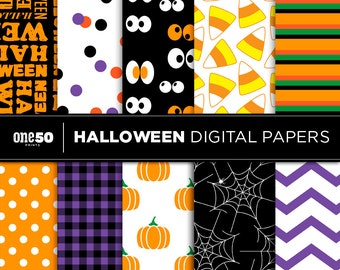 Halloween Digital Paper, Halloween Scrapbooking Paper, Halloween Prints, Halloween Printable Paper Pack
