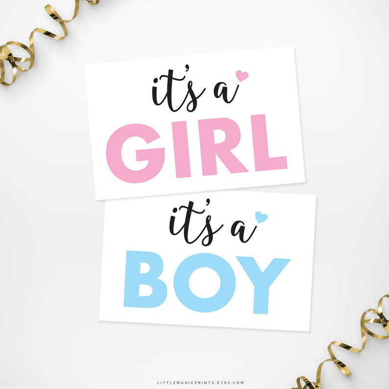 Printable It's a Girl, It's a Boy, Gender Reveal Signs, Printable Gender Reveal Pink Blue Signs, Girl or Boy Gender Reveal Decorations,