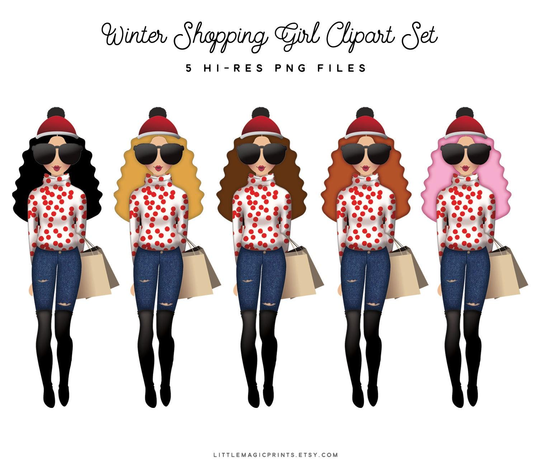 Winterurlaub-Weihnachts-Shopping Mode-Mädchen-Clipart-Set | Etsy