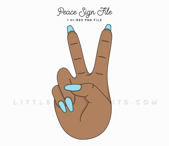 Peace Sign Hands Clipart Nails Hands Manicure Clipart File Etsy