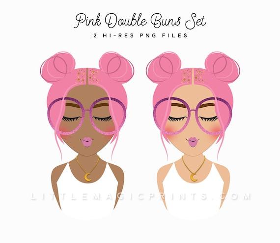 Pink Hair Buns Fashion Girl Clipart Set Gold Glitter Pink Etsy