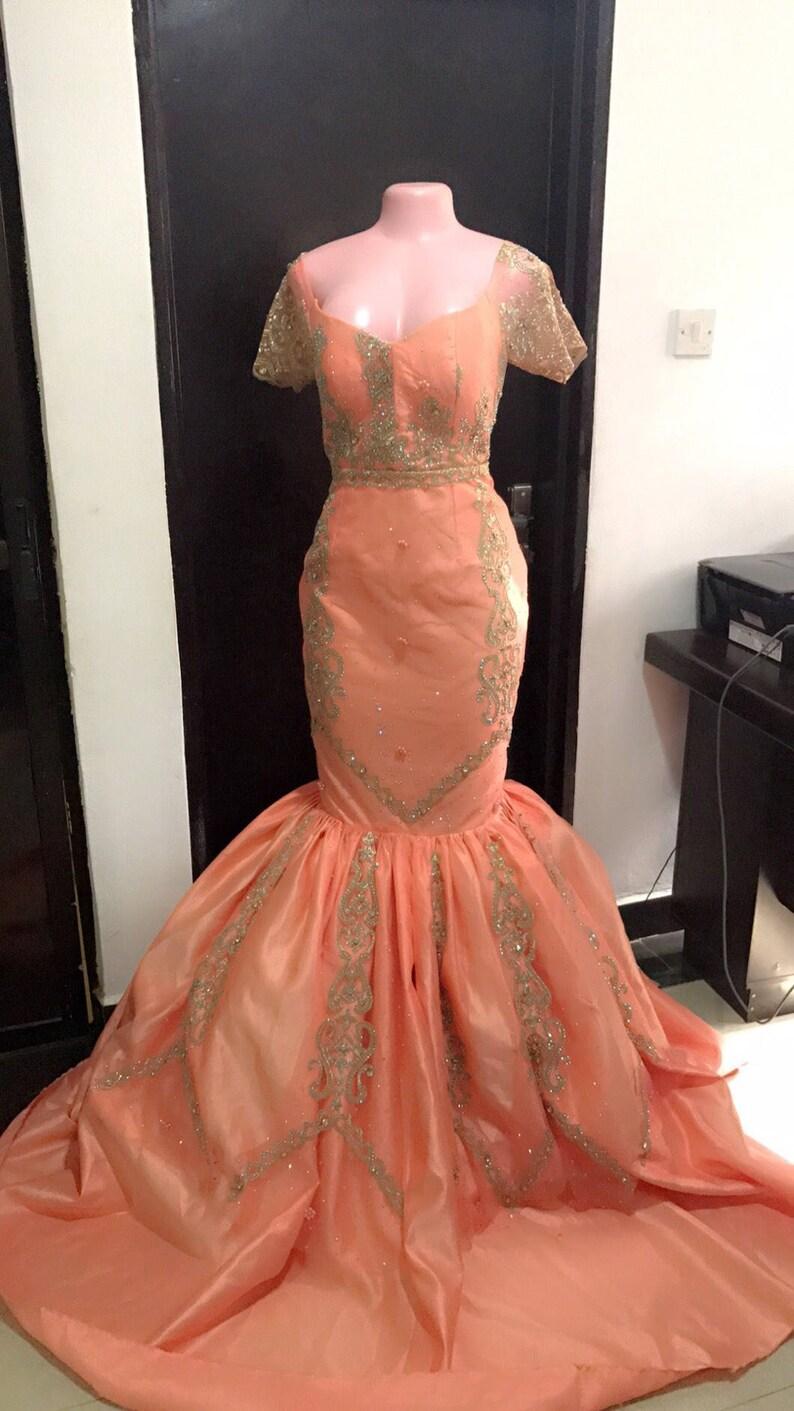 Bodenlangen KleidAfrikanische Pfirsich Hochzeit Prom Meerjungfrau Maxi Kommen Besetzt Kleider KleiderHeimat Y7b6yfvg