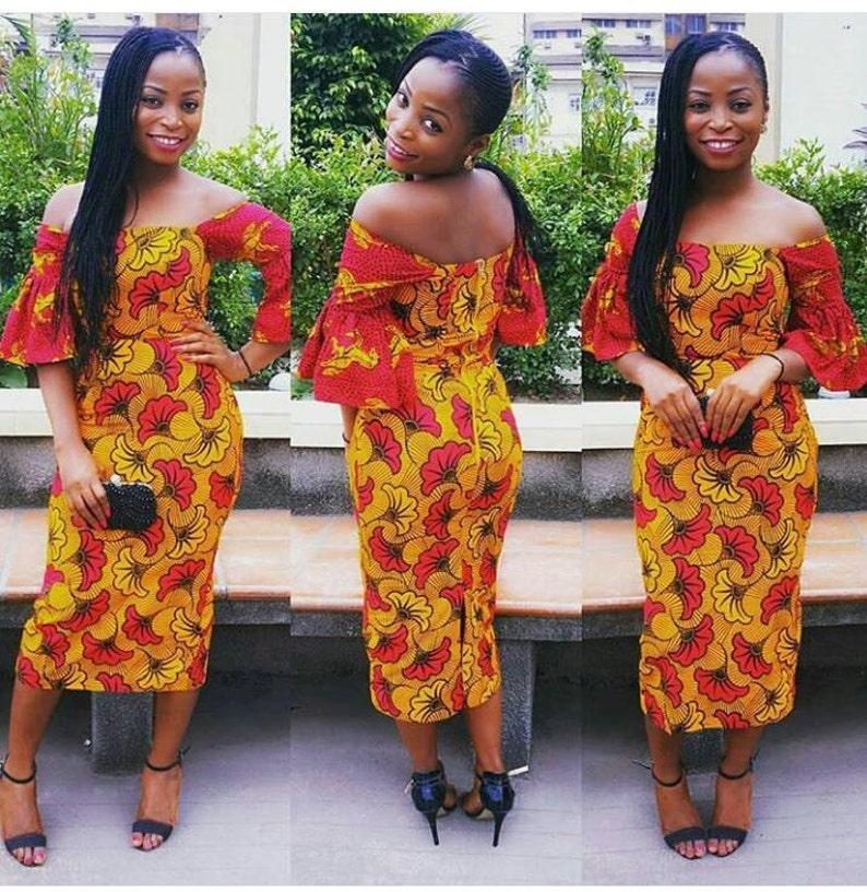 250c4a18ec79 Mixed African Print Off Midi Shoulder Dress African Mixed