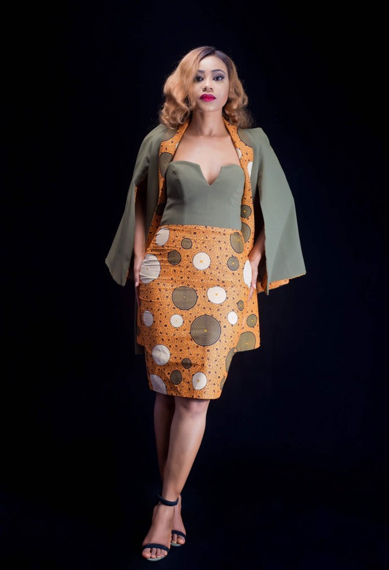 14d31be423e African Tube Dress with Matching Cape African Print Plain