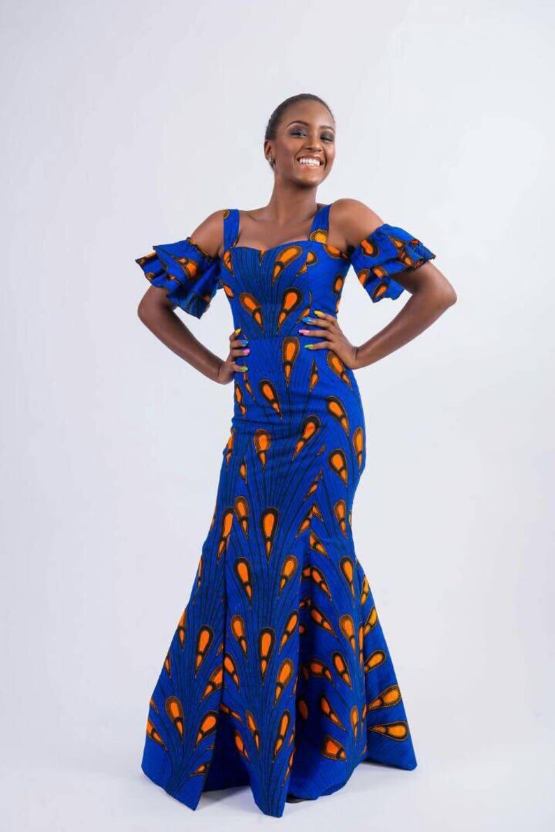 42b8ef93dab2 Blue African Print Maxi Dress Ankara Maxi Dresses Blue and