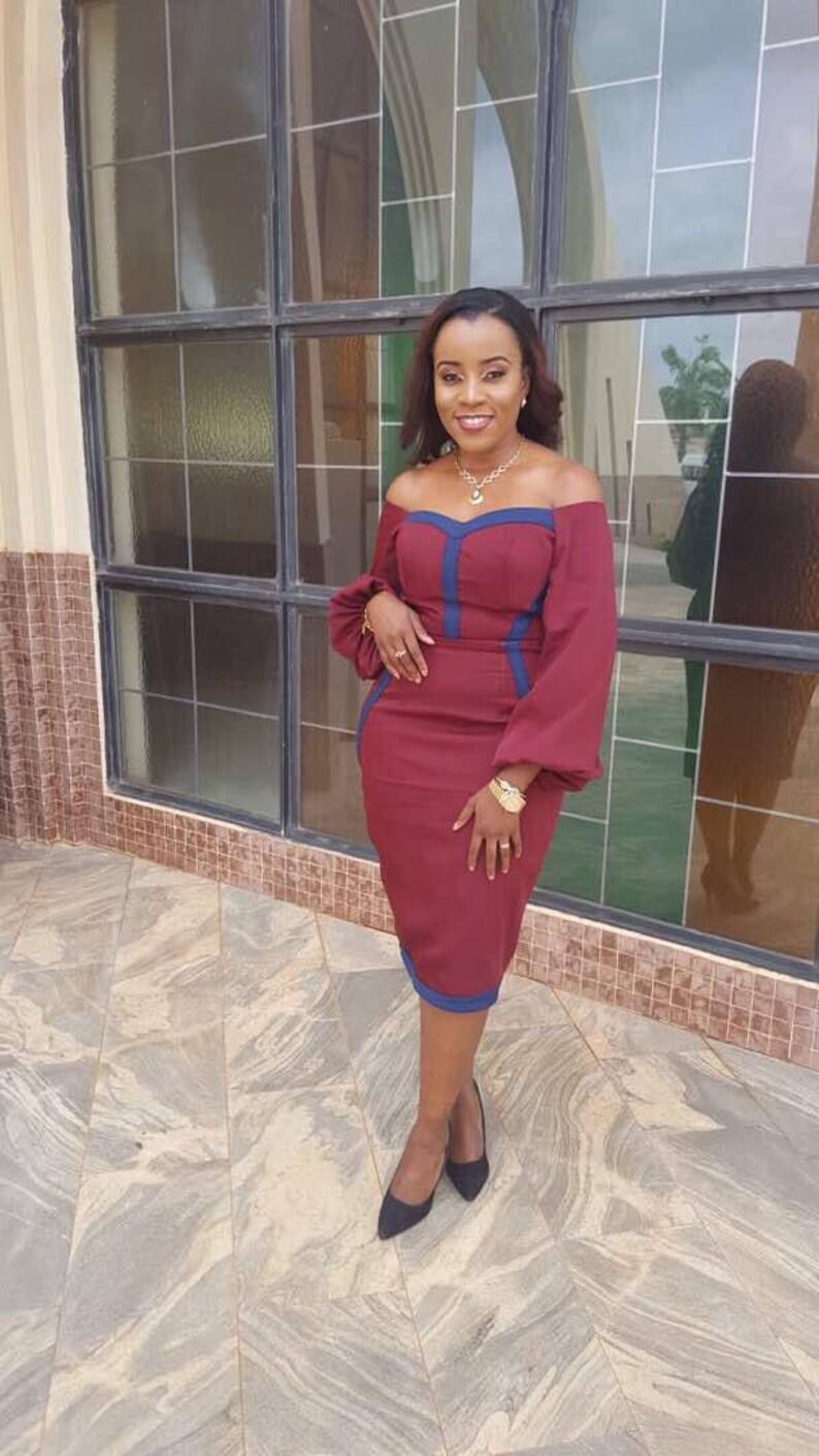Midi Dresses Burgundy Off shoulder Wide Long Sleeve Dress Burgundy Dresses Dresses for Weddings