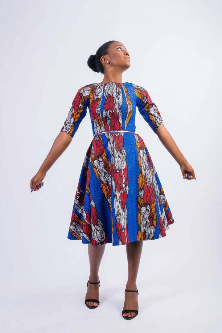 Blau rot weiß a-Linie Kleid Kleider zu schwingen Daviva