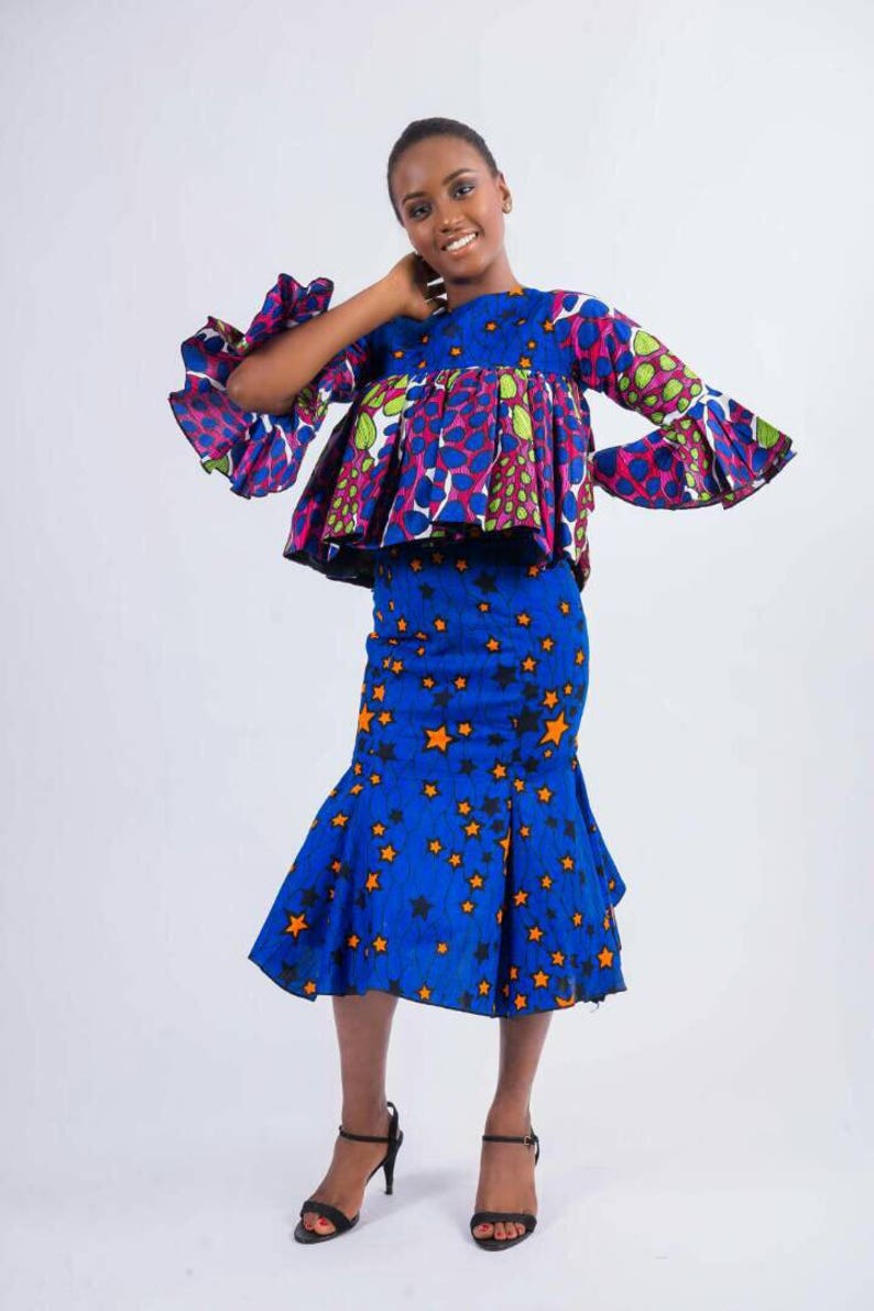 f76e69bd28c Blue White and Pink African Print Two-Piece Top and Skirt