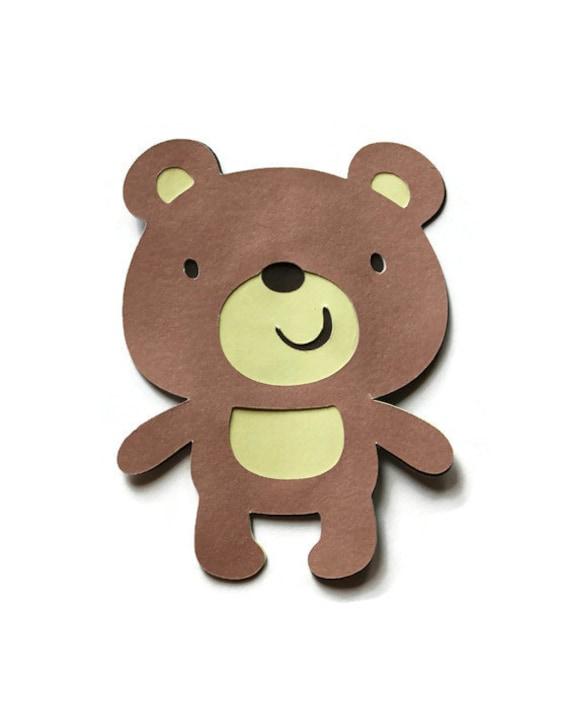 5 Bear Die Cuts Teddy Bear Cut Outs Bear Baby Shower Bear Etsy