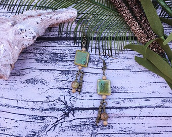 Handcrafted jewelry, Boho antique Bronze and ceramic bead drop earrings