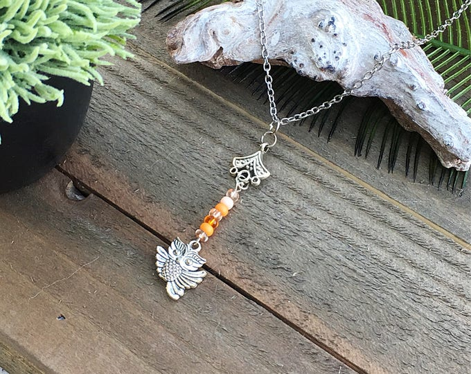 ON SALE! Handcrafted jewelry, owl charm necklace
