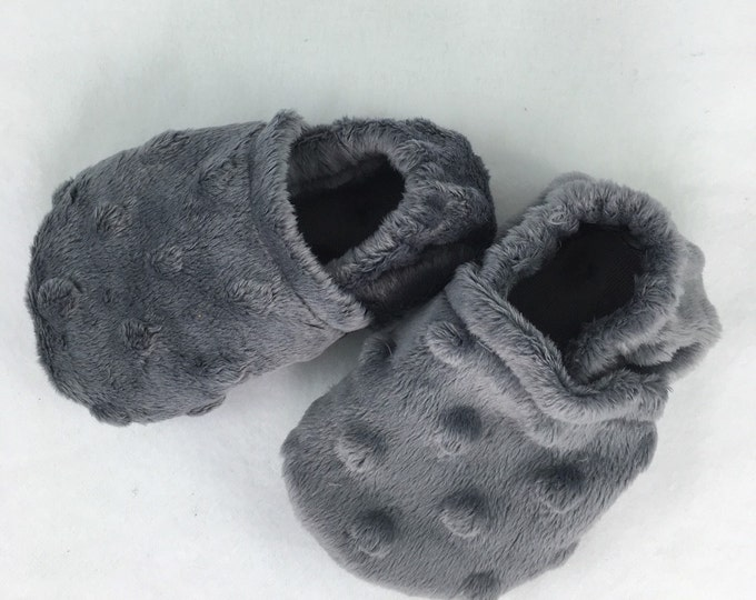Baby shoes, crib booties, Minky booties, custom order color