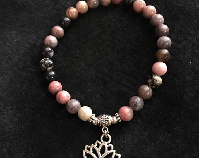 Handcrafted jewelry, Stretch layering bracelets, Lotus flower bracelet