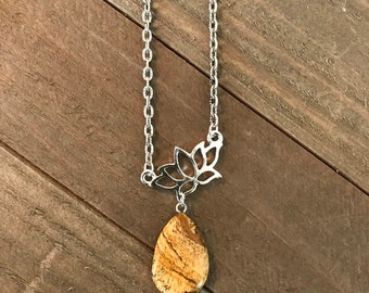 Handcrafted jewelry - healing necklace - Semi precious stone- Lotus charm