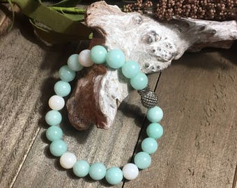 Handcrafted jewelry, Stretch layering bracelets, Pineapple bracelet, moonstone bracelet, Aquamarine bracelet