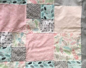 Baby blanket - cotton, flannel, fleece, minky - Feather blanket