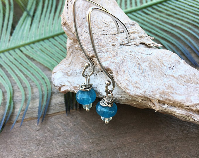 Silver wrap Aqua quartz drop earrings