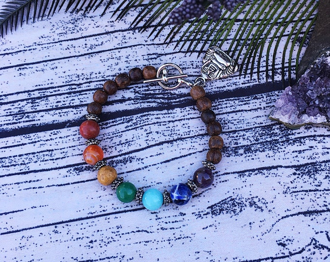 RESERVED for LAURA - Handcrafted jewelry, 7 Chakra Bracelet, Meditation, Buddha