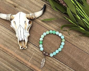 Handcrafted jewelry, Stretch layering bracelets, feather bracelet