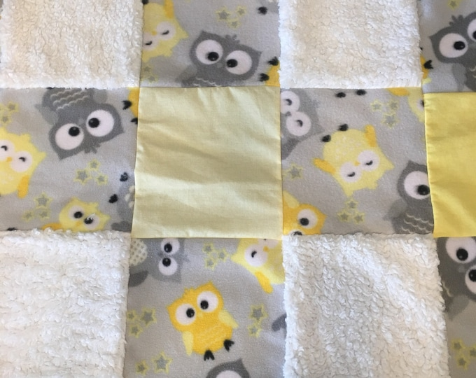 Baby blanket - cotton, flannel, fleece, Pure Plush and Sherpa blanket - Owl blanket