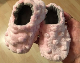 Baby shoes, crib booties, Minky booties
