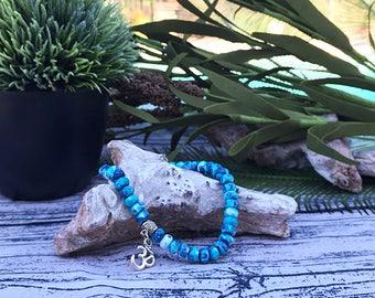 Handcrafted jewelry, Stretch layering bracelets, om charm bracelet, meditation bracelet