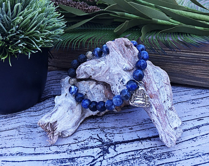 Handcrafted jewelry, Chakra bracelet, diffuser bracelet, Sodalite bracelet, Lava bead bracelet